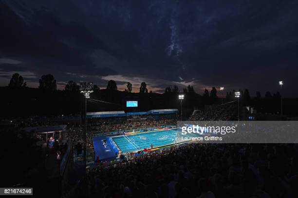 A general view during the Women's Water Polo qurter final between Hungary and Canada on day eleven of the Budapest 2017 FINA World Championships on...