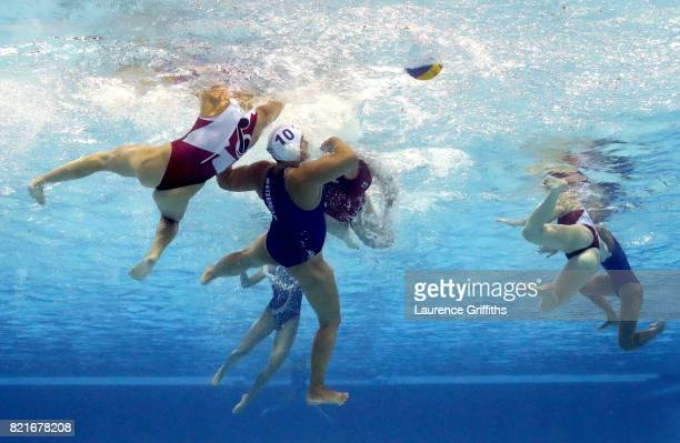 General view during the Women's Water Polo qurter final between Hungary and Canada on day eleven of the Budapest 2017 FINA World Championships on...