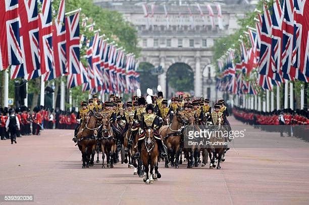 A general view during Trooping the Colour this year marking the Queen's 90th birthday at The Mall on June 11 2016 in London England The ceremony is...
