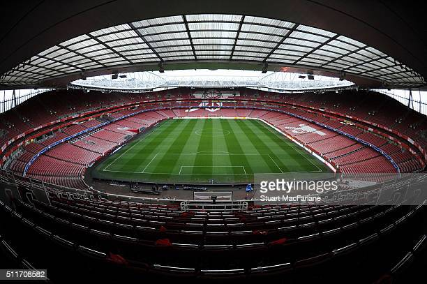 A general view Emirates Stadium on the eve of the UEFA Champions League Round of 16 1st Leg match between Arsenal and Barcelona on February 22 2016...