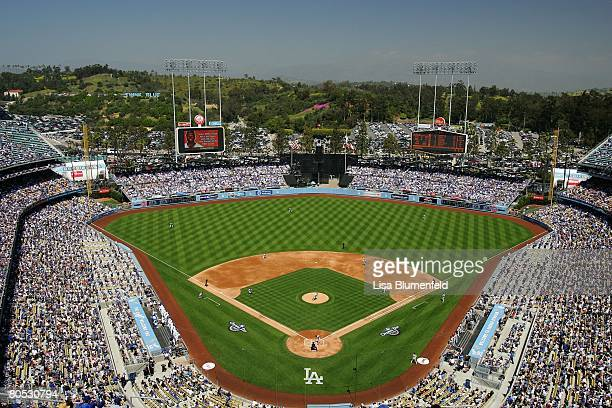 A general view field before the Los Angeles Dodgers Opening Day game against the San Francisco Giants at Dodger Stadium on March 31 2008 in Los...