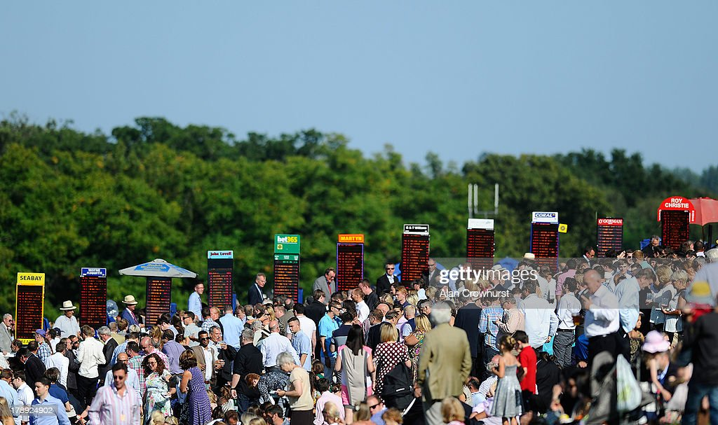 General view fo race-goers and bookmakers at Sandown racecourse on August 31, 2013 in Esher, England.