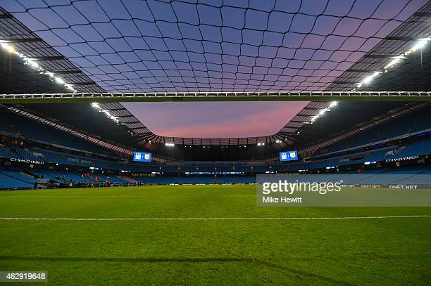 General View following the Barclays Premier League match between Manchester City and Hull City at the Etihad Stadium on February 7 2015 in Manchester...