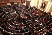 A general view for the first Egyptian parliament session after the revolution that ousted former President Hosni Mubarak January 23 2012 in Cairo...