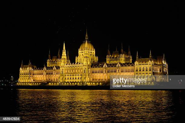 A general view from a boat ferrying festival goers to and from the Sziget Festival of the Hungarian Parliament Building on August 13 20015 in...