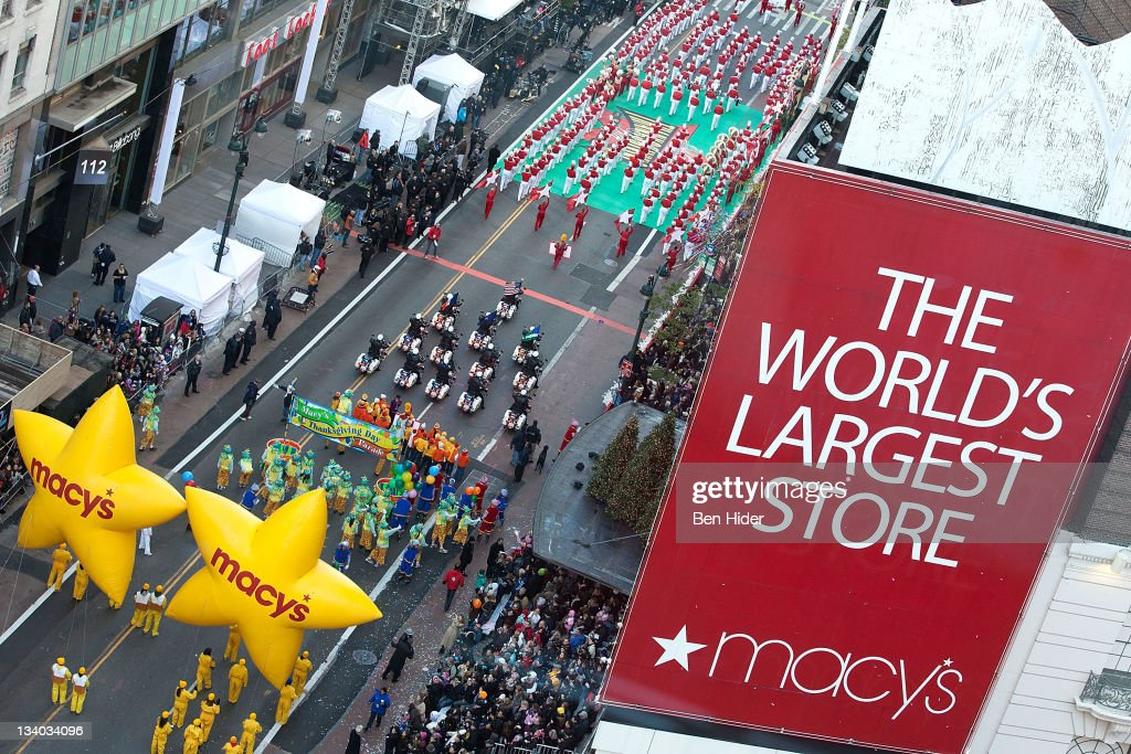 A general view from above of the Macy's Legendary Thanksgiving Day Parade on November 24, 2011 in New York City.