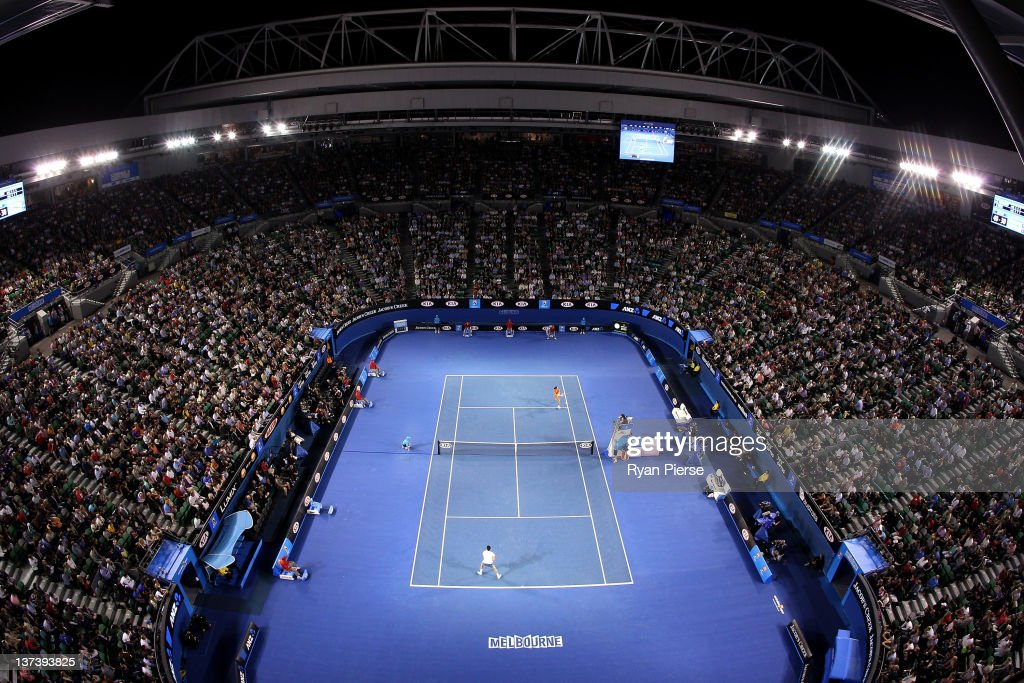 A general view from above Rod Laver Arena during the third round match between <a gi-track='captionPersonalityLinkClicked' href=/galleries/search?phrase=Alexandr+Dolgopolov&family=editorial&specificpeople=7025085 ng-click='$event.stopPropagation()'>Alexandr Dolgopolov</a> of the Ukraine and <a gi-track='captionPersonalityLinkClicked' href=/galleries/search?phrase=Bernard+Tomic&family=editorial&specificpeople=650713 ng-click='$event.stopPropagation()'>Bernard Tomic</a> of Australia during day five of the 2012 Australian Open at Melbourne Park on January 20, 2012 in Melbourne, Australia.
