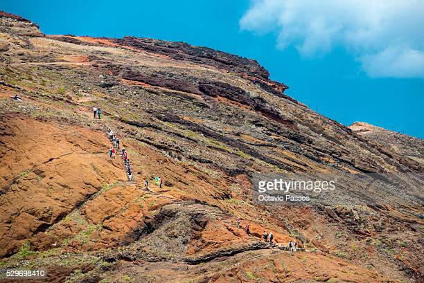 General view from Cani��al the east cost of Madeira Island for some tourist walking on the mountains on May 9 2016 in Madeira Portugal