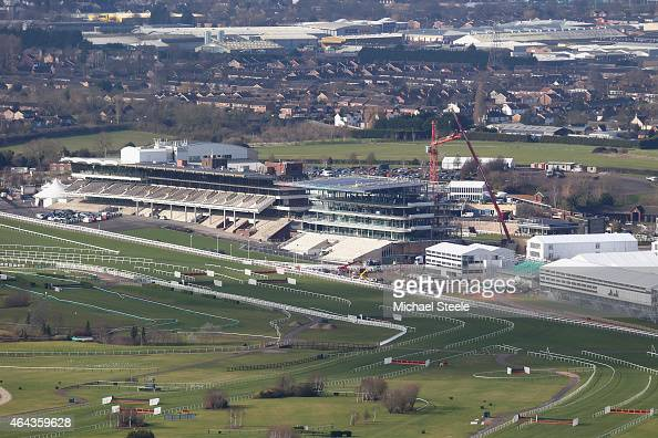 General view from Cleeve Hill ahead of the Cheltenham Festival at Cheltenham Racecourse on February 25 2015 in Cheltenham England