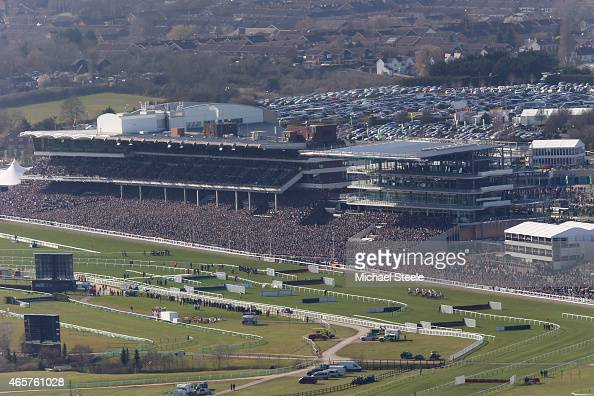 A general view from Cleeve Hill during the opening race of the Cheltenham Festival the Sky Bet Supreme Novices Hurdle Race lduring the opening race...