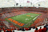 General View from corner of the Carrier Dome during the Syracuse Orange game vs the Toledo Rockets on September 24 2011 at the Carrier Dome in...