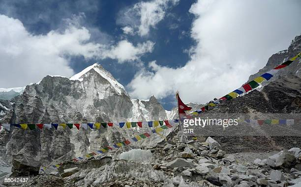 A general view from Everest Base Camp towards the summit of Mount Everest in Nepal on May 17 2009 Bad weather conditions forced three Nepalese Sherpa...