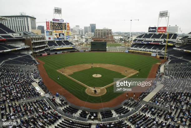 A general view from inside the newly constructed Petco Park home to the San Diego Padres during the Aztec Invitational college baseball tournament on...