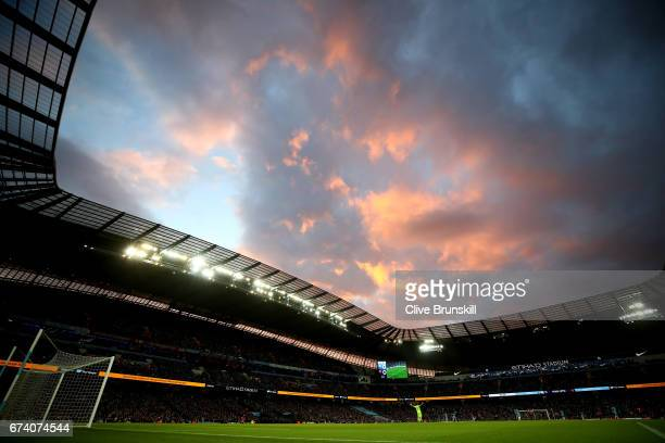 A general view from inside the stadium during the Premier League match between Manchester City and Manchester United at Etihad Stadium on April 27...