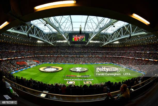A general view from inside the stadium prior to the UEFA Europa League Final between Ajax and Manchester United at Friends Arena on May 24 2017 in...