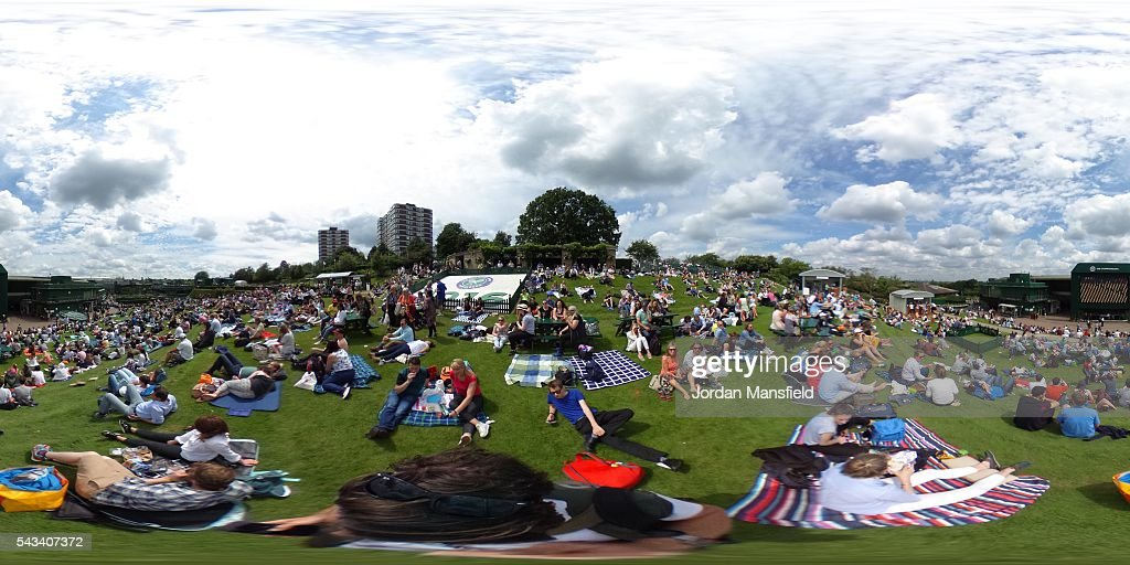 A general view from Murray mound on day two of the Wimbledon Lawn Tennis Championships at the All England Lawn Tennis and Croquet Club on June 28th, 2016 in London, England.