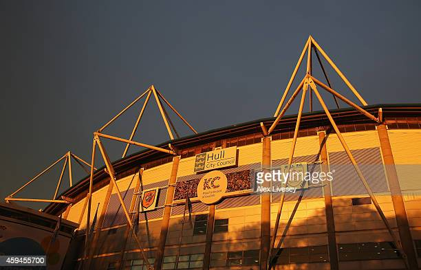 A general view from outside the ground prior to the Barclays Premier League match between Hull City and Tottenham Hotspur at KC Stadium on November...