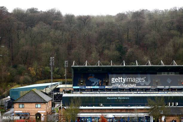 A general view from outside the stadium prior to The Emirates FA Cup Second Round between Wycombe Wanderers and Leatherhead at Adams Park on December...
