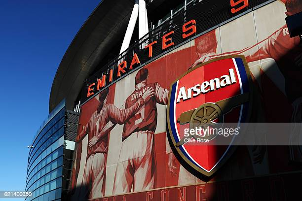 A general view from outside the stadium prior to the Premier League match between Arsenal and Tottenham Hotspur at Emirates Stadium on November 6...