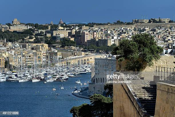 A general view from St Peter's Bastion across Grand Harbour on May 15 2014 in Valetta Malta
