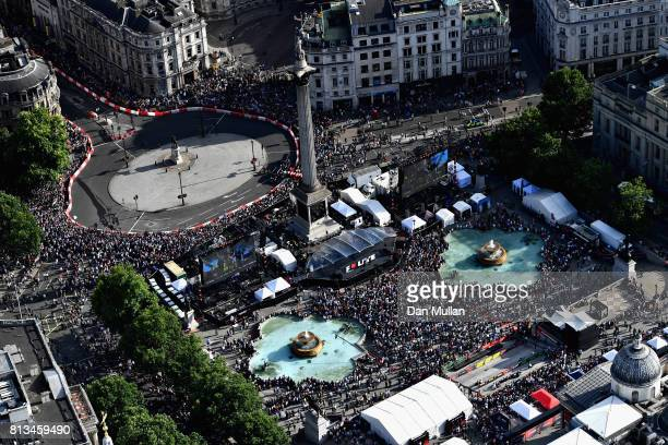 A general view from the air during F1 Live London at Trafalgar Square on July 12 2017 in London England F1 Live London the first time in Formula 1...