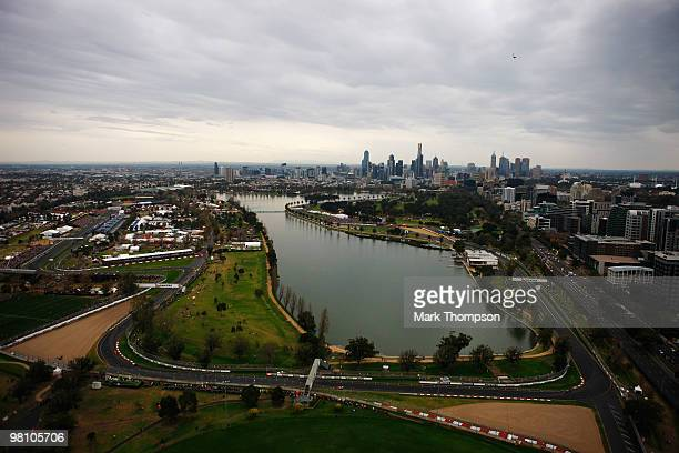 General view from the air of the Australian Formula One Grand Prix at the Albert Park Circuit on March 28 2010 in Melbourne Australia