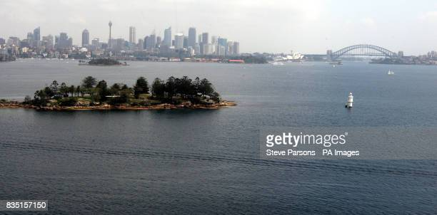 General view from the air of the Sydney skyline Opera House and Harbour bridge