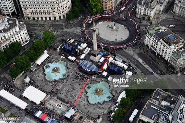 A general view from the air showing the course for the showruns during F1 Live London at Trafalgar Square on July 12 2017 in London England F1 Live...