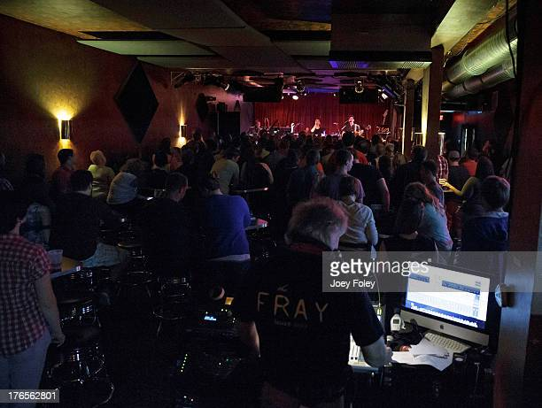 A general view from the back of the club as the rock band Panic At the Disco performs onstage during a special sold out intimate show at a small...