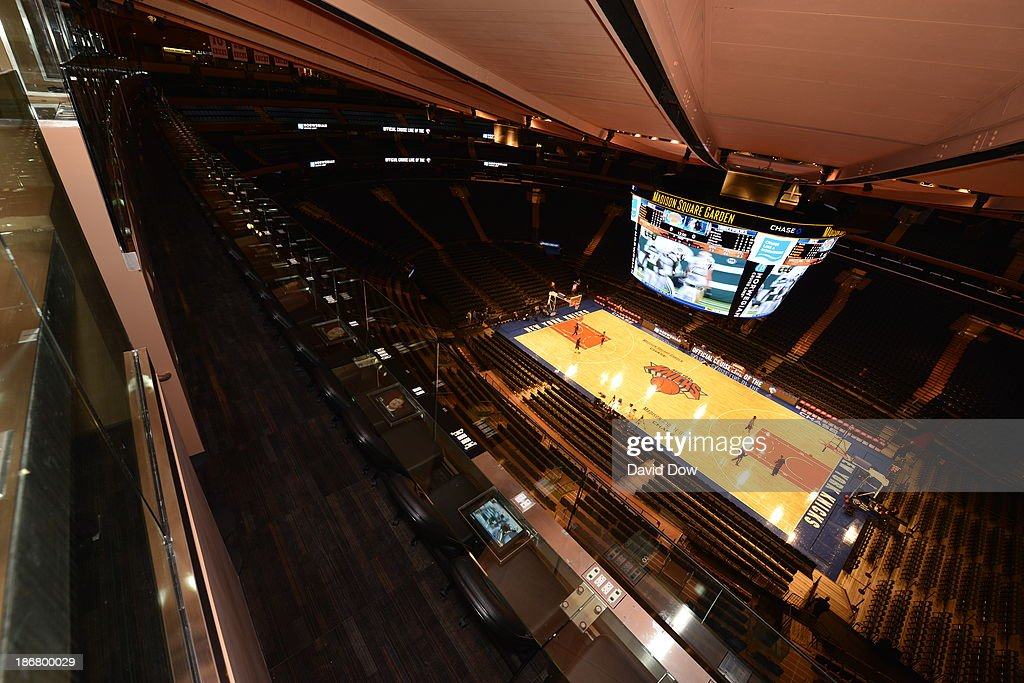 A general view from the Chase Bridge at Madison Square Garden prior to a game played between the Minnesota Timberwolves and New York Knicks on November 3, 2013 at Madison Square Garden in New York City, New York.
