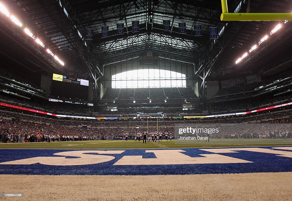 A general view from the end zone as the Indianapolis Colts take on the Houston Texans at Lucas Oil Stadium on December 30 2012 in Indianapolis...