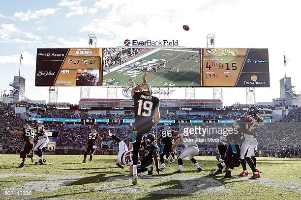 A general view from the end zone of Punter Bryan Anger of the Jacksonville Jaguars kicking the ball during the game against the Atlanta Falcons at...