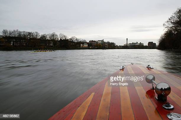 A general view from the following press launch during the Cambridge University Women's Boat Club trial eights race on the River Thames on December 9...