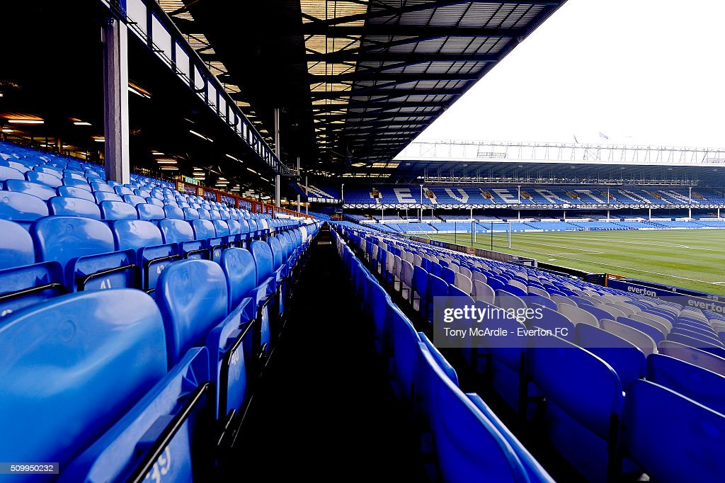 A general view from the Glwadys Street stand ahead of the Barclays Premier League match between Everton and West Bromwich Albion at Goodison Park on February 13, 2016 in Liverpool, England.