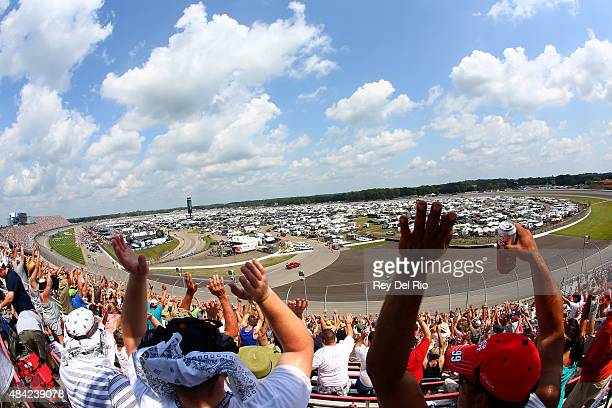 A general view from the grandstand before the start of the NASCAR Sprint Cup Series Pure Michigan 400 at Michigan International Speedway on August 16...