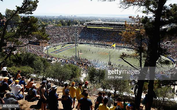 A general view from the hill overlooking California Memorial Stadium during the California Golden Bears game against the Grambling State Tigers on...