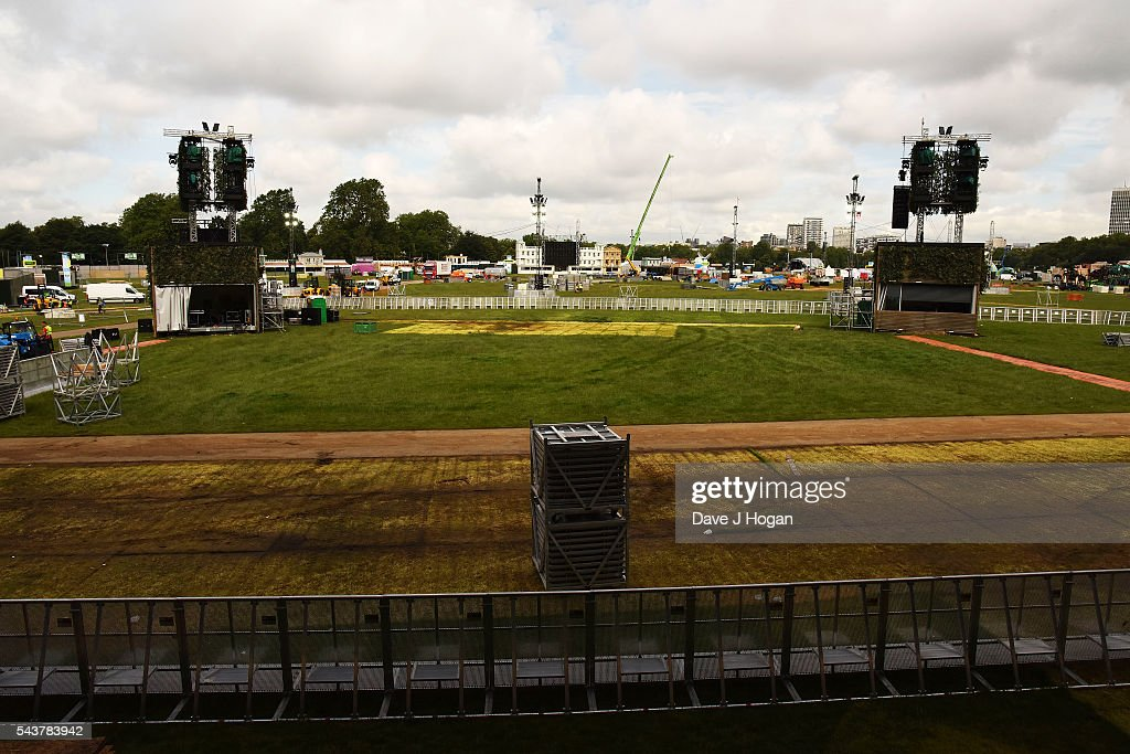 A general view from the main stage during the Barclaycard presents British Summer Time 2016 Media Day at Hyde Park on June 30, 2016 in London, England.