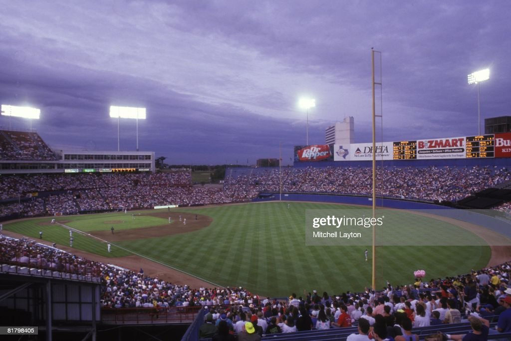 General view from the outfield of Arlington County Stadium during baseball game between the Oakland Athletics and Texas Rangers on April 25 1994 in...