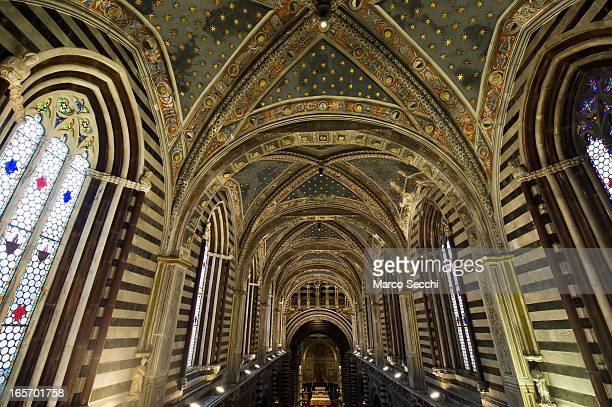 A general view from the passageway under the roof seen during the press preview of 'La Porta del Cielo' at Duomo on April 5 2013 in Siena Italy The...