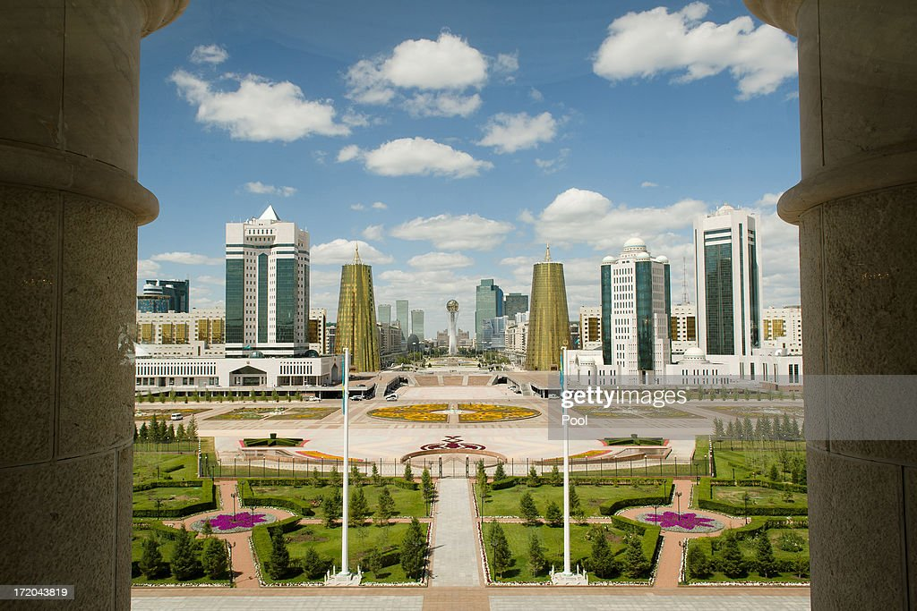 A general view from the Presidential Palace on July 1, 2013 in Astana, Kazakhstan.British Prime Minister David Cameron met with Kazakhstan President Nursultan Nazarbayev at the Presidential Palace during his visit to Kazakhstan as part of a trade mission; the first ever trip to the country by a serving British Prime Minister, after making an unannounced trip to visit troops in Afghanistan and meeting with the Prime Minister of Pakistan in Islamabad.