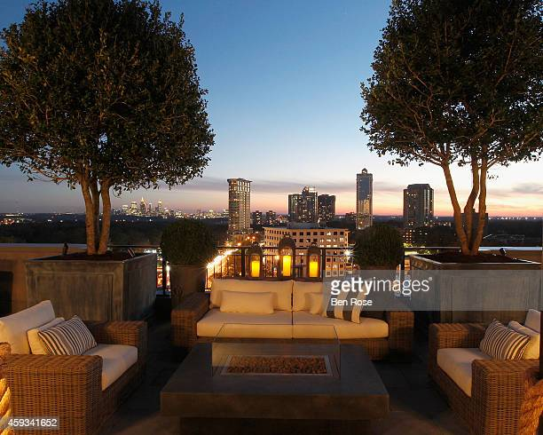 A general view from the rooftop veranda at the RH Atlanta The Gallery at the Estate in Buckhead opening celebration on November 20 2014 in Atlanta...