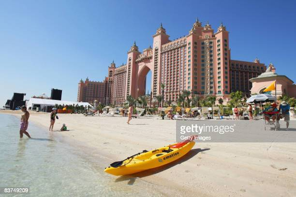 A general view from the seafront of the Atlantis The Palm Resort at the Palm Jumeirah Island on November 19 2008 in Dubai United Arab Emirates