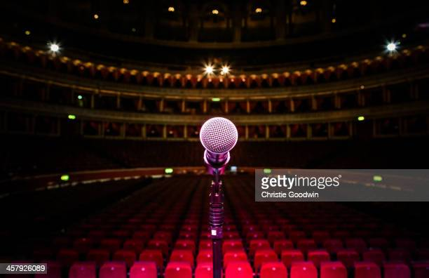 General view from the stage of the Royal Albert Hall in London England showing the performer's view of the empty auditorium and seating seen from...