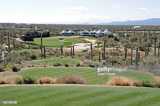 A general view from the tee box on the 12th hole down the fairway to the green during the semifinal round of the World Golf Championships Accenture...