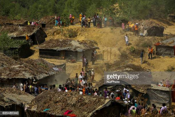 A general view from the top of hill Rohingyas makeshift Balu Khali refugee camp on February 15 2017 in Bangladesh Almost 2000 thousand Rohingya...