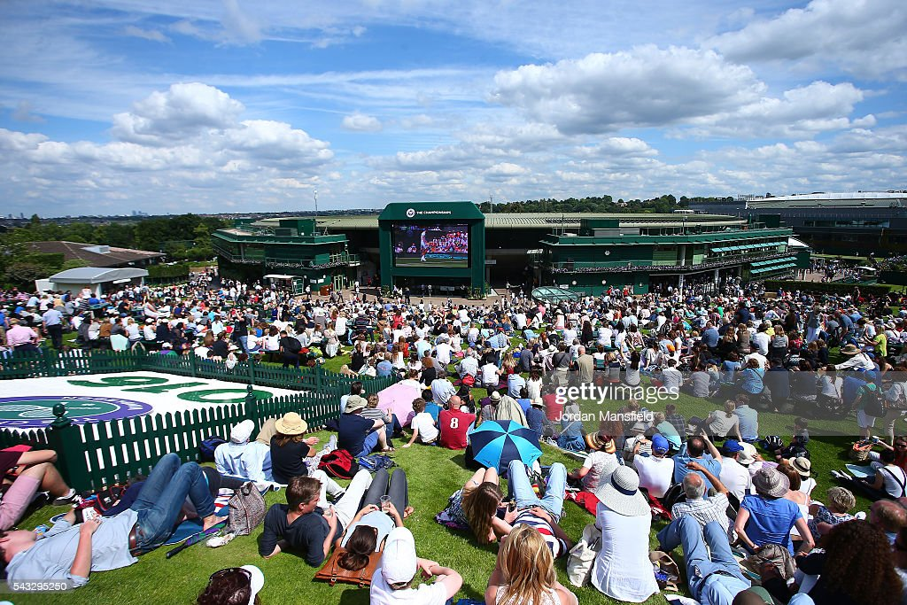 A general view from the top of Murray mound on day one of the Wimbledon Lawn Tennis Championships at the All England Lawn Tennis and Croquet Club on June 27th, 2016 in London, England.