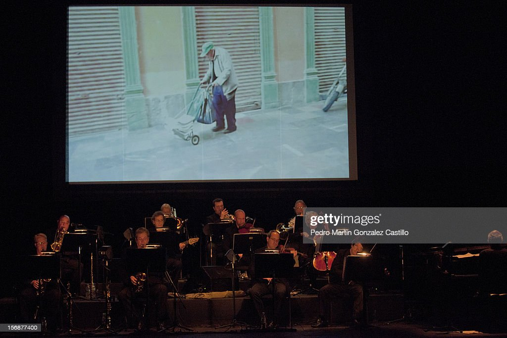 General view furing the show of the British pianist and composer Michael Nyman and his band at the Teatro de la Ciudad, on November 22, 2012 in Mexico City, Mexico.