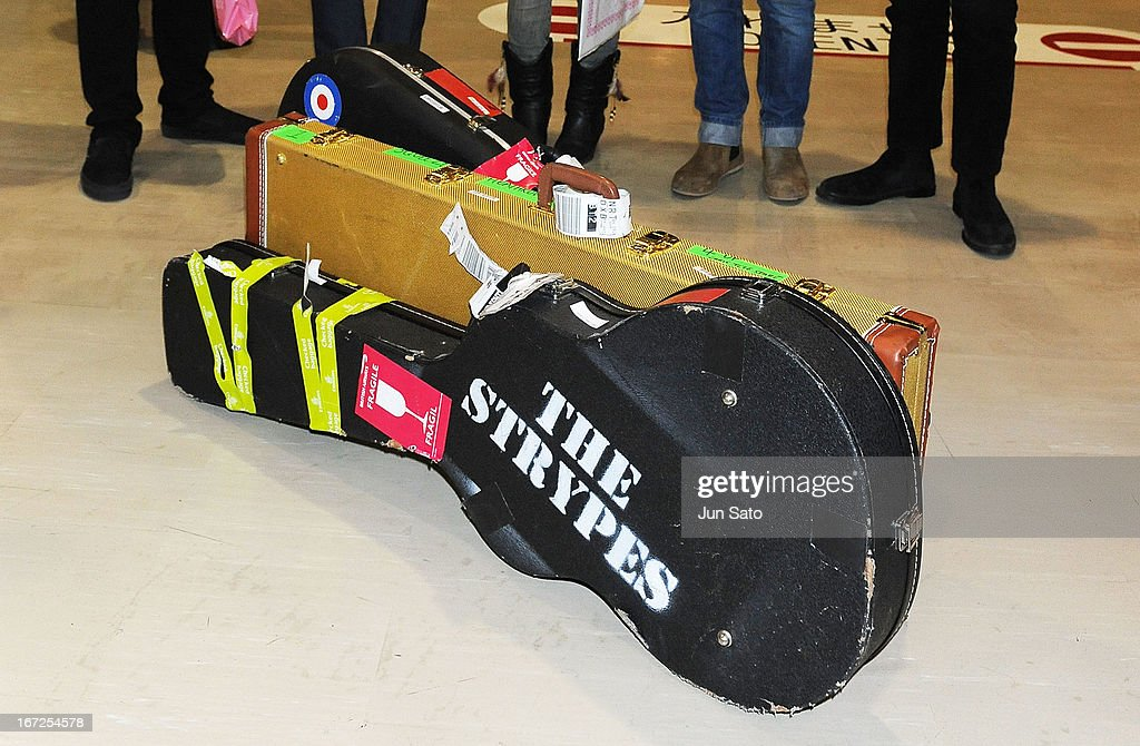 A general view, guitar cases of the Strypes are seen at Narita International Airport on April 23, 2013 in Narita, Japan.