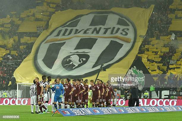 A general view if the fans with a Juventus banner prior to the Serie A match between Juventus FC and Torino FC at Juventus Arena on November 30 2014...
