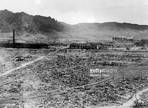General view in 1945 of the ruins of Nagasaki city in Japan after the explosion of the atom bomb on August 9 there is nothing left of what was in...